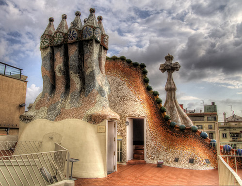 On the roof of Gaudi's Casa Batllo in Barcelona, Spain