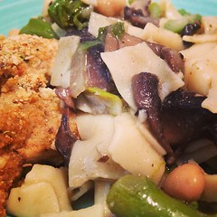 Lunch @punkave: Parmesan Breaded Chicken & Fresh Pasta with Shitake Mushrooms, Asparagus, Chickpeas & Pea Shoots