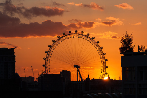 London Eye and sunset