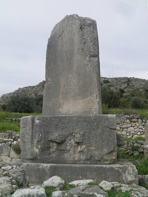 The Xanthos Obelisk, a trilingual inscribed pillar in the Lycian language with Greek inscriptions, Xanthos, Lycia, Turkey