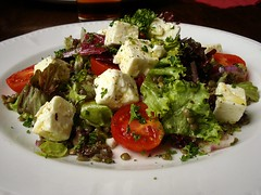 Puy lentil, feta, and tomato salad at the Barrowbo…