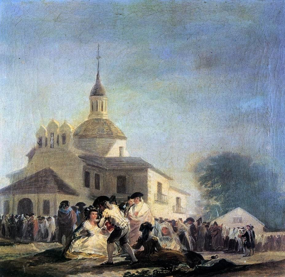 Fiesta en la ermita de san Isidro. Francisco de Goya. Óleo sobre lienzo. 1788