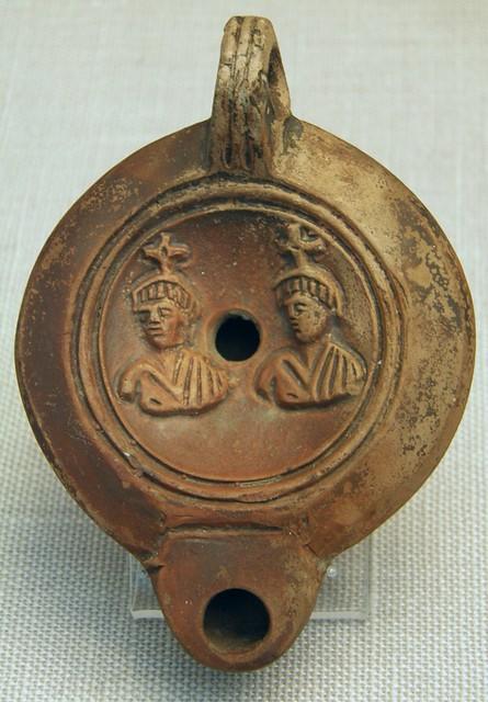 Castor and Pollux (Dioscuri), terracotta Roman oil lamp 1st cent. AD, Staatliche Antikensammlungen, Munich