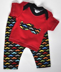 Semi-Custom Little Mustache Lap Tee and Pants Set