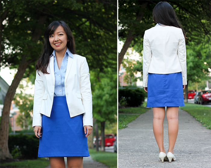 smile white blazer