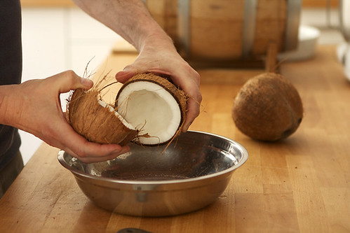 cracking coconut
