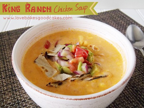 King Ranch Chicken Soup in bowl with spoon.