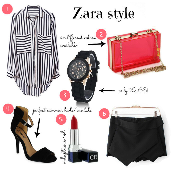 Ebay bargains, cheap finds, fashion blog, fashion blogger, zara ebay bargains, transparent clutch, skort, geneva watch, striped zara style blouse