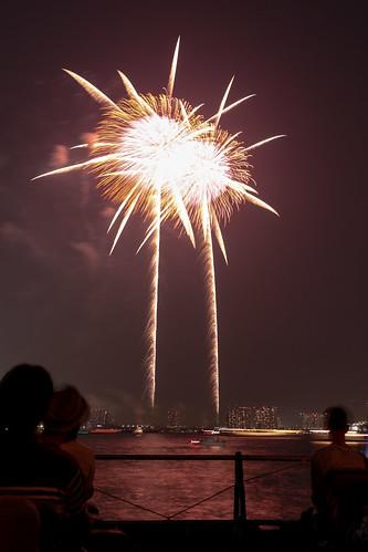 「昇太朴付 芯入 夕映えの椰子」 by 青木昭夫 東京湾大華火 2013 Tokyo Bay Grand Fireworks