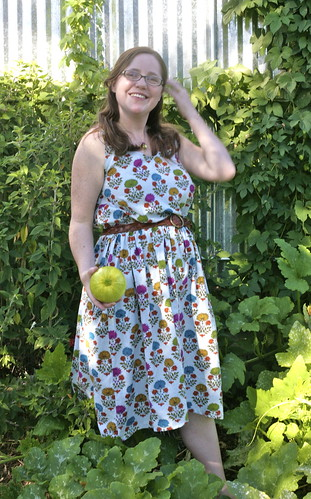 Picking squash in my new dress.