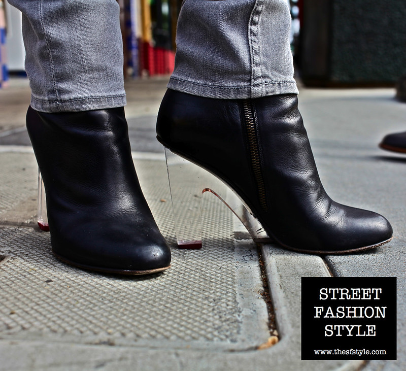 dries van noten, lucite heel bootie, street fashion style, san francisco fashion blog, streetstyle,
