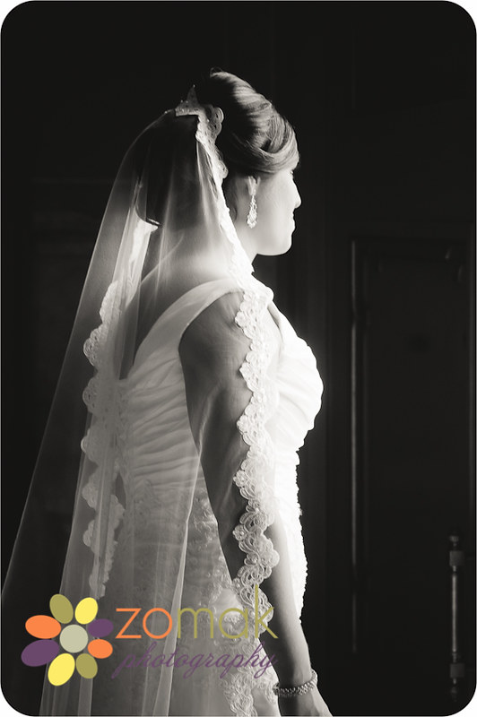 Black and white photo of a bride moments before she sees her groom on their wedding day in helena montana