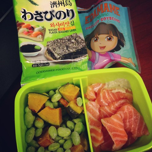 edamame, lavar, and salmon sashimi