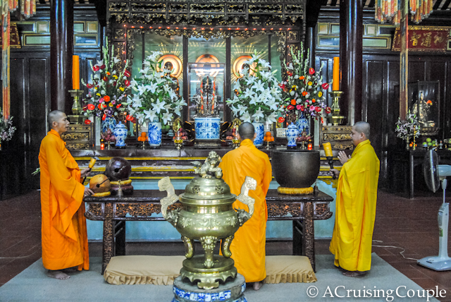 Buddhist Monks Praying at Thien Mu Pagoda Hue Vietnam