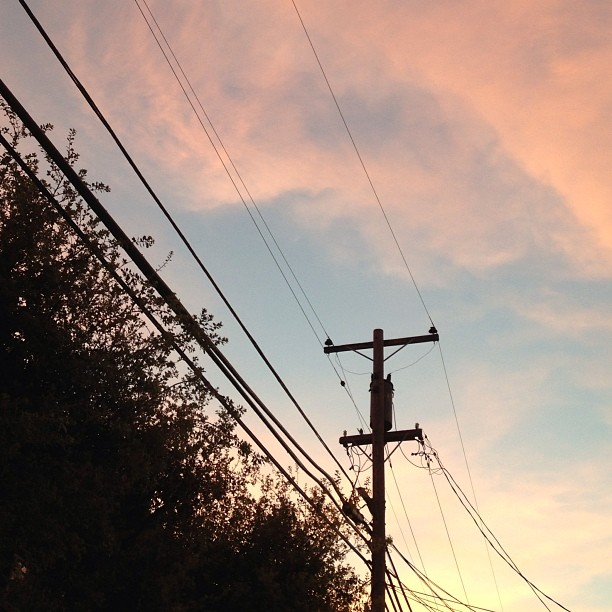 The sky is the daily bread of the eyes. -Ralph Waldo Emerson #sky #lookingup #sunset #powerlines #quote