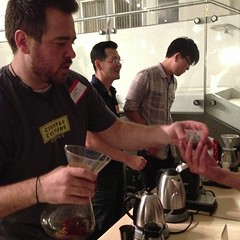 Taste testing with @NewWorldCoffee1 at #sparkcon. #pknraleigh