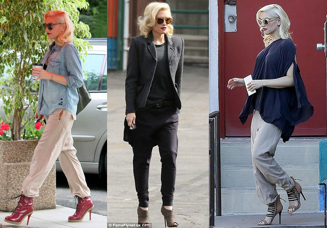 drop crotch pants, harem pants, Gwen stefani, Gwen stefani in harem pants, how to wear harem pants, what to wear to school run