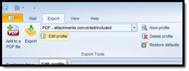 This screen shot shows the location of the email export profile editor.
