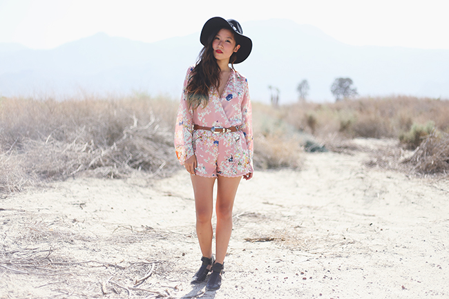 playsuit, floral romper, lulus romper, jumpsuit, festival fashion, coachella fashion, coachella fashion 2014, concho hat, jeffrey campbelll stilson, lulus fashion blogger