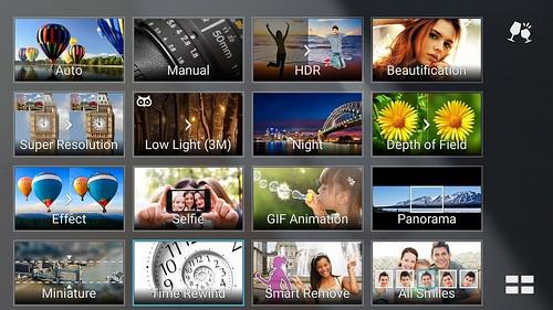 User Interface ในการเลือกโหมดถ่ายภาพของ ASUS Zenfone 2