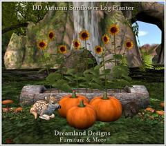DD Autumn Sunflower Log Planter vendor