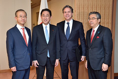 Deputy Secretary of State Antony 'Tony' Blinken poses for a photo with Japanese Foreign Minister Fumio Kishida, Japanese Vice Foreign Minister Shinsuke Sugiyama, and Republic of Korea (ROK) First Vice Foreign Minister Lim Sung-nam before their meeting in Tokyo, Japan, on October 26, 2016. [State Department photo/ Public Domain]