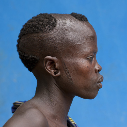 Original Hairstyle of a Bodi Woman Profile Portrait Hana Mursi Village Omo Valley Ethiopia