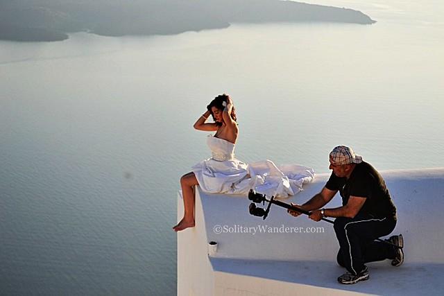 model in Oia, Santorini