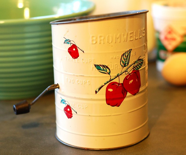 My adorable flour sifter by Eve Fox, Garden of Eating blog, copyright 2012