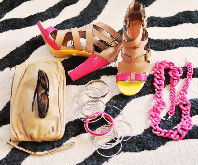 nude and neon accessories-zebra rug