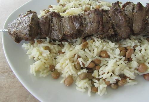 Beef Skewer Over Rice w/ Pigeon Peas