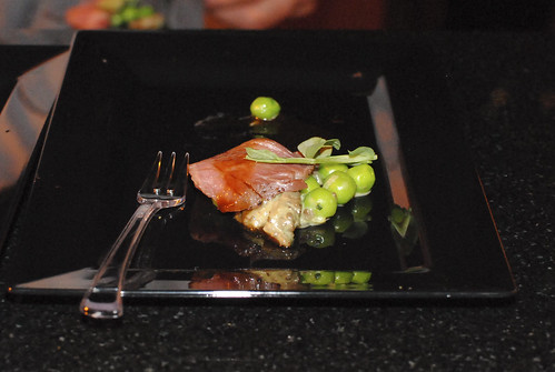 Wicked Spoon colorado lamb loin, spring peas, morel mushroom, cherry jus