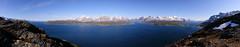 Ullsfjorden and Lyngsalpene (stitched panorama, 6705x1309, >180°)