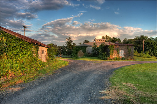 road sunset clouds path gravel storageshed outbuildings blueribbonwinner norristownfarmpark