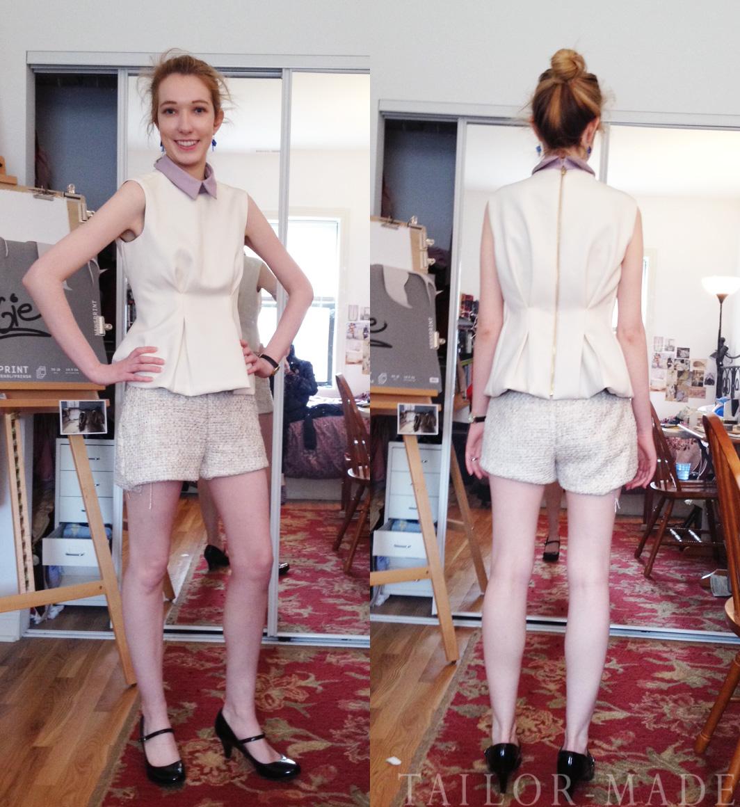 cream top pleather leggings