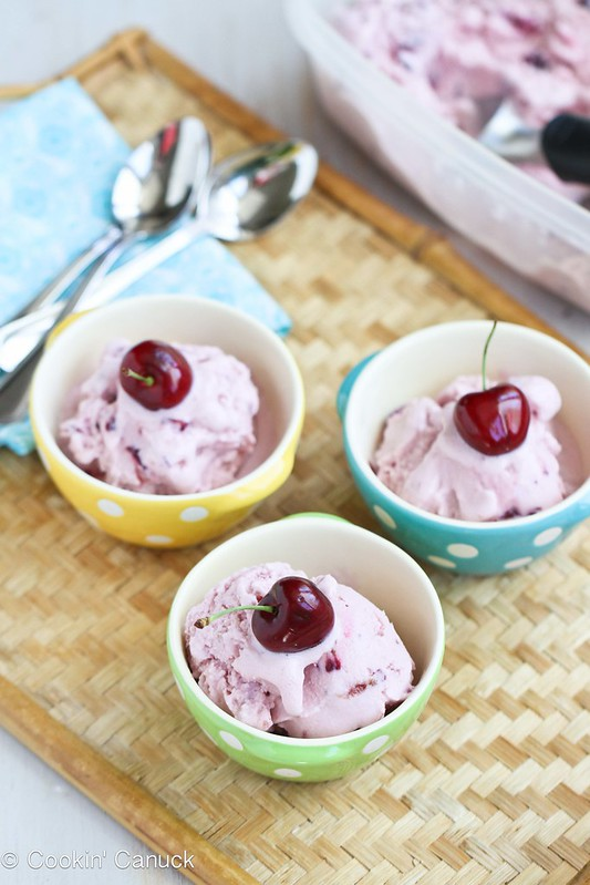 Cherry, Coconut & Honey Frozen Yogurt Recipe {Low Sugar} | cookincanuck.com
