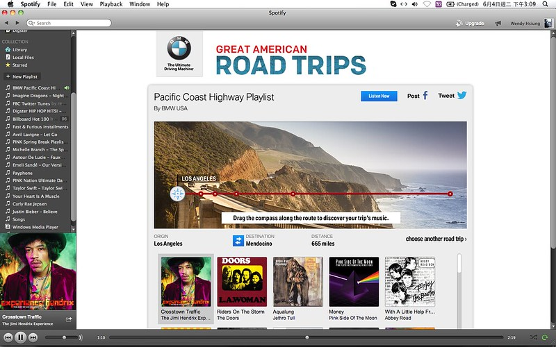 2013 BMW Great American Road Trips campaign@Spotify_01