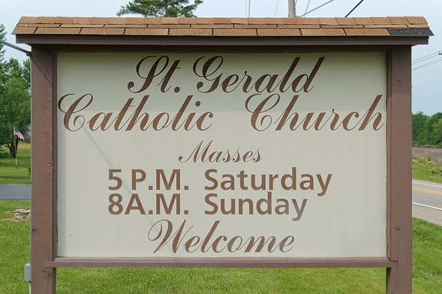 Saint Gerald Roman Catholic Church, in Gerald, Missouri, USA - sign