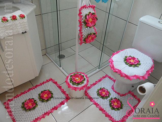 Jogo de Banheiro Flor Mixirica Rosa Pink Flickr Photo  ~ Tapete Eva Kit Quarto