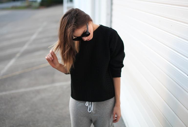Modern Legacy fashion blog Australia Nicholas sweatshirt Bassike track pants Alexander Wang Jamie Chain Tote Bag Black Antonia heels Celine Audrey sunglasses (5 of 9)