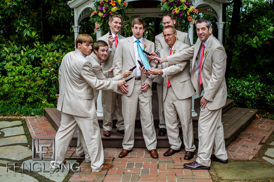 Groom and groomsmen take funny photo