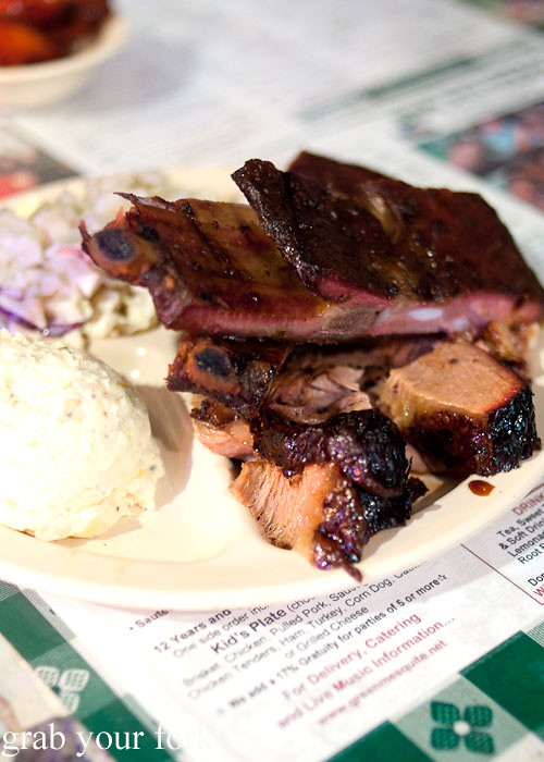 barbecue brisket and ribs at green mesquite bbq austin texas
