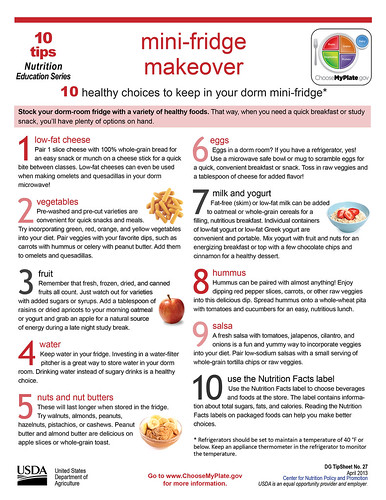 MyPlate On Campus Ambassadors are encouraged to use resources, such as this 10 Tips handout, to promote healthy eating to their peers.