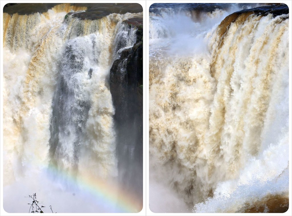iguazu falls close-up with rainbow