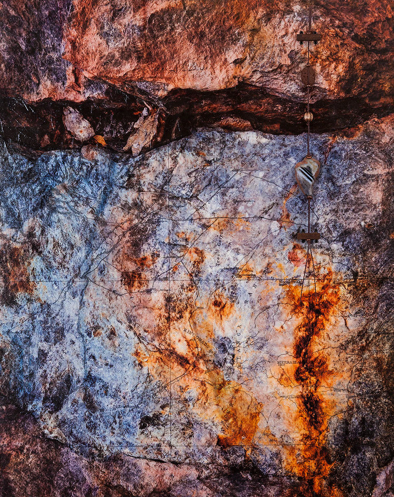 20 x 16 mixed media inspired by the rock cut west of Jerome, Arizona (Sold)