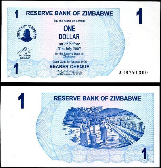 1 Dolár Zimbabwe 2006, Pick 37