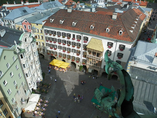 View of Innsbruck Main Square from Clock Tower