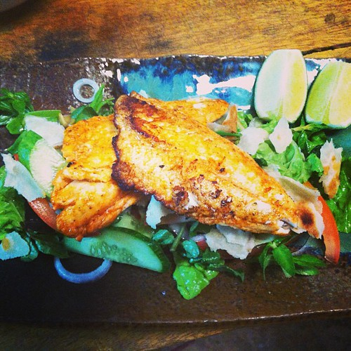 Harrisa pan seared snapper on fatoush salad