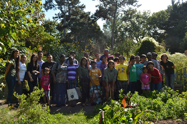 Junior Botanist and Plant Investigator participants shared the summer's harvest at a reunion with their families in the Children's Garden. Photo by Blanca Begert.