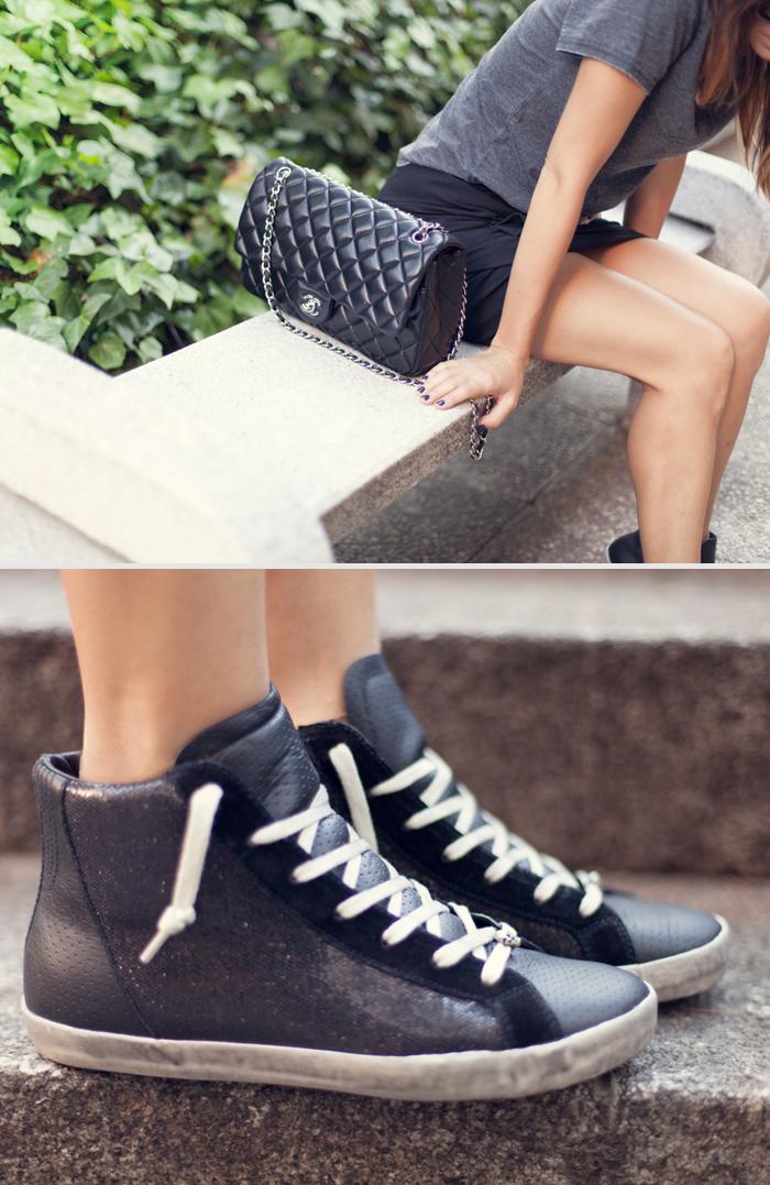 street style barbara crespo black sneakers the corner chanel bag fashion blog
